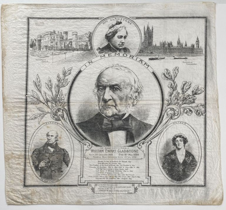 [HISTORICAL TEXTILE] In Memoriam The Right Honourable William Ewart Gladstone. listed.