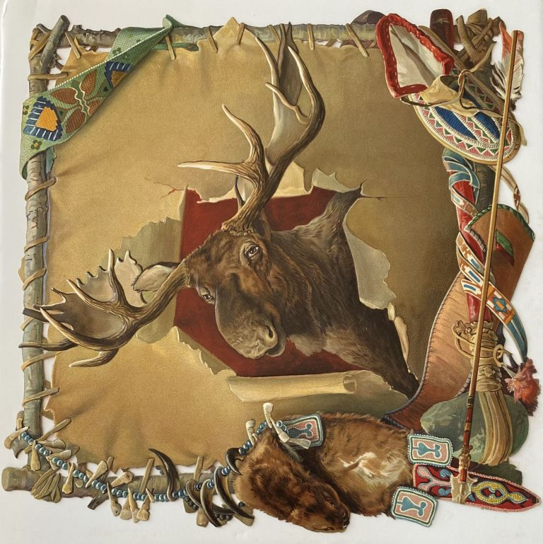 Large embossed paper die-cut of a Moose Head on a stretched skin with embellishments. ANONYMOUS.
