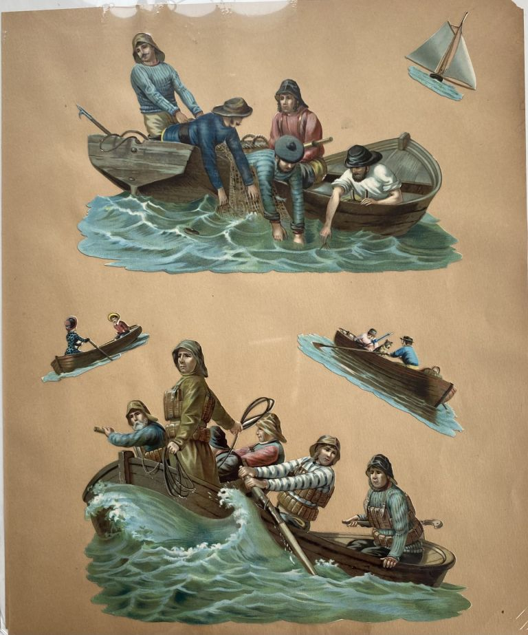[Five Embossed Chromolithographed Nautical or Marine Die-cuts]
