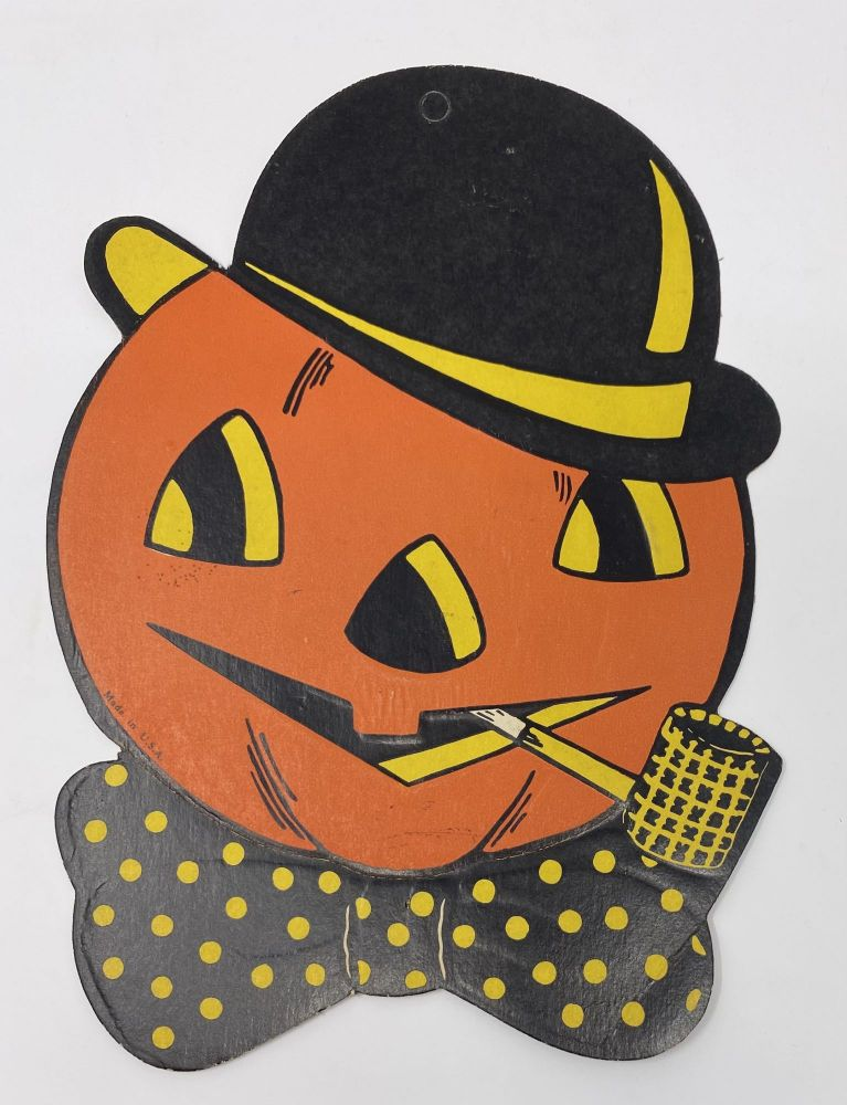 Jack-O-Lantern Pumpkin Head with Bowler Hat and Pipe-- Halloween Decoration