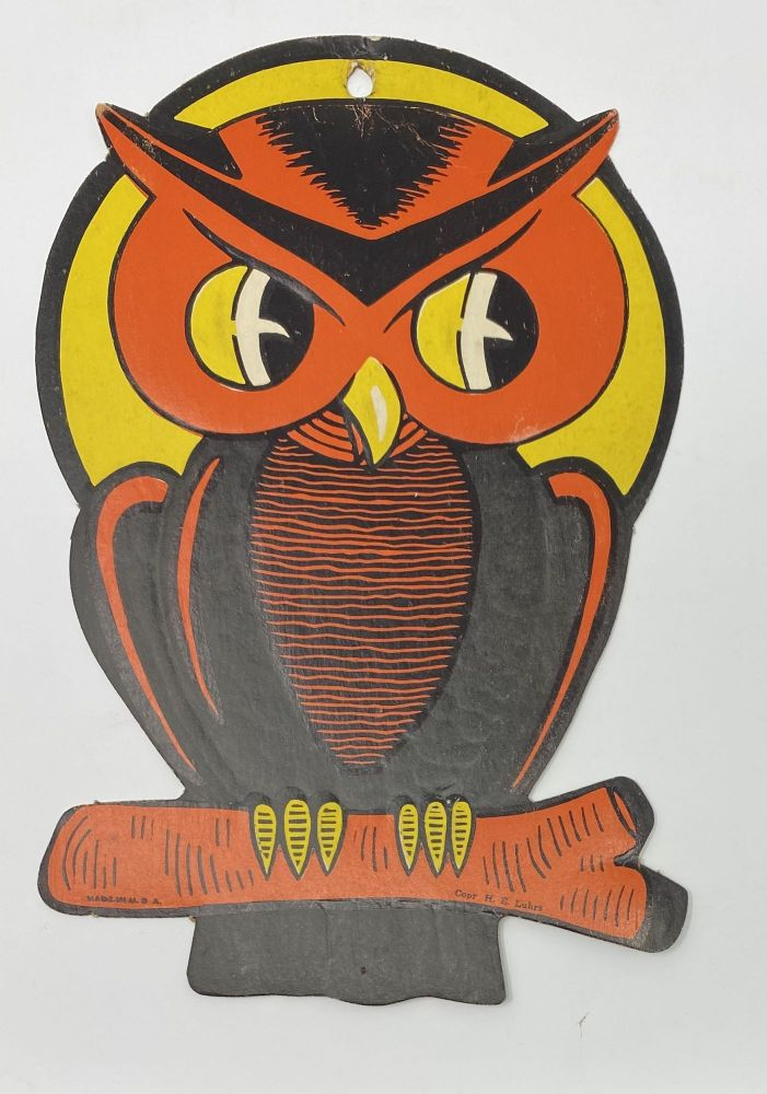 Owl on a Branch in front of a Moon-- Halloween Decoration
