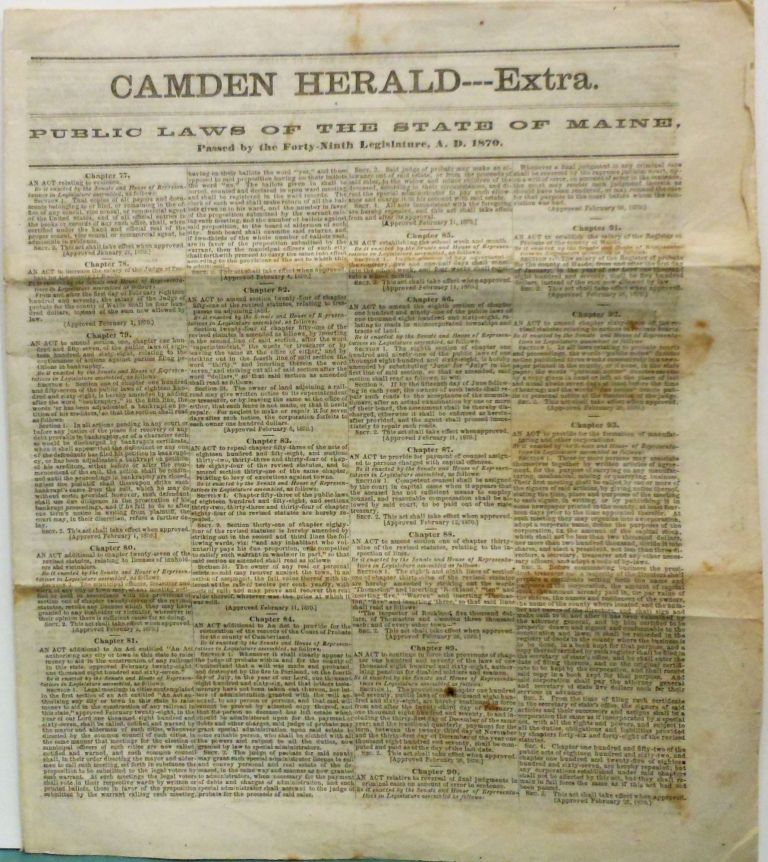 Camden Herald--Extra, Public Laws of the State of Maine, Passed by the Forty-Ninth Legislature, A.D. 1870. Camden Herald Newspaper.