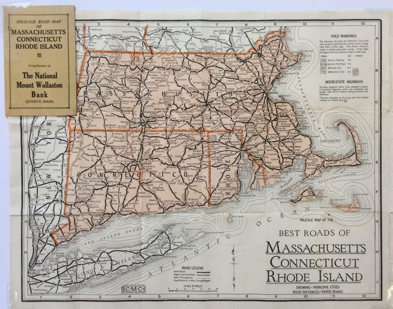 Mileage Map of the Best Roads of Machusetts, Connecticut, Rhode Island, on maps and directions, maps to print and trace, maps car, maps state, maps food, maps of coastal northern california, maps city,
