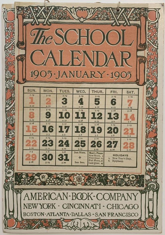 The School Calendar 1905. AMERICAN BOOK COMPANY.