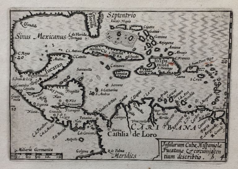 Insularum Cubae, Hispaniole, Jucatanae & circumjacentium describtio, from Visscher's Tabularum Geographicarum; English translation: Island of cuba, Hispaniola [Greater Antilles] and the Yucatan