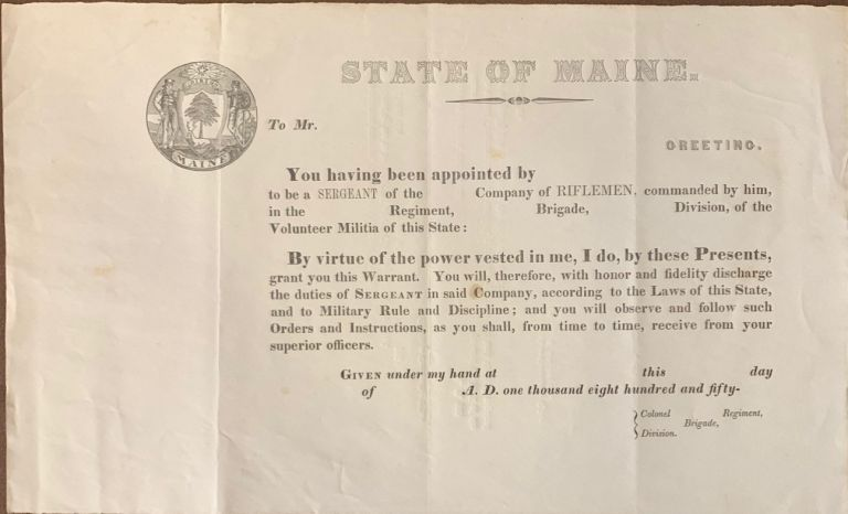 State of Maine Volunteer Militia inscription certificate for a Sergeant in a Company of Riflemen