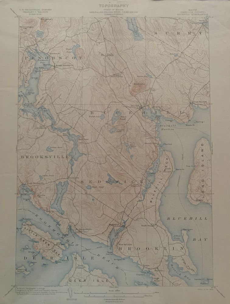 Maine (Hancock County), Bluehill Quadrangle, Topography, State of Maine, U.S. Geological Survey, Charles D. Walcott, Director. Leslie A. LEE, Commissioners, C. S. HICHBORN, William ENGEL, 1903 Topographic Survey Commissioners.