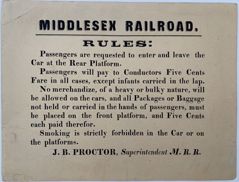 Middlesex Railroad Rules. J. B. PROCTOR, Capt. John Ball.