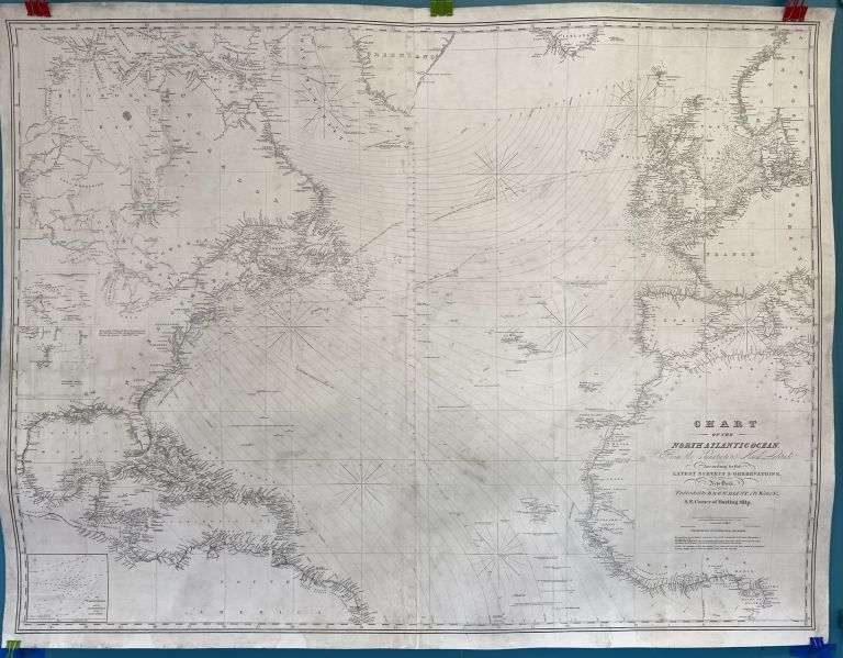 Chart of the North Atlantic Ocean from the Equator to 65 North Latitude According to the Latest Surveys and Observations. Edmund, George William, E. BLUNT, G W.