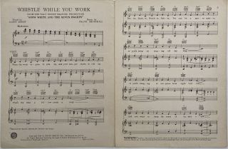 """Whistle While You Work; From Walt Disney Feature Production """"Snow White and the Seven Dwarfs"""""""