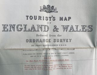 Tourist's Map of England & Wales from the Ordnance Survey; Cover title: Philips' Cyclist's Map of England & Wales, by J. Bartholomew FRGS