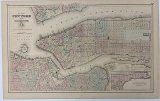 Map of New York and Adjacent Cities; Recto: State of New Jersey. G. Woolworth COLTON