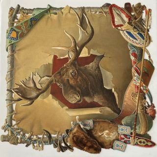 Large embossed paper die-cut of a Moose Head on a stretched skin with embellishments. ANONYMOUS