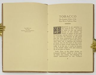 """Tobacco, The Greatest Solace of the War-Worn Fighting Man, What American Smokes Mean to Our Boys """"Over There"""" When Waiting to Go Into Action and Afterward, Reprinted from The New York Sun, July 8, 1917"""