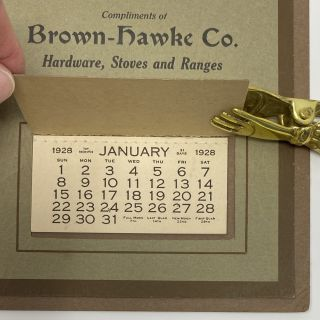 Calendar for the Year 1928, Compliments of Brown-Hawke Co., Hardware, Stoves and Ranges, Waynesburg, Ohio