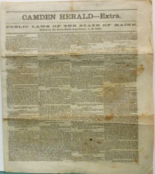 Camden Herald--Extra, Public Laws of the State of Maine, Passed by the Forty-Ninth Legislature,...