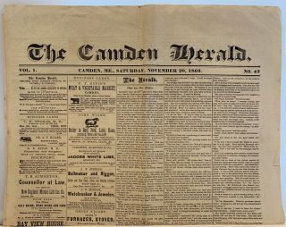 The Camden Herald, Vol 1., No. 43, Saturday, November 20, 1869. Camden Herald Newspaper