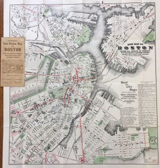 New Map of Boston Giving All Points of Interest; with Every Railway & Steamboat Terminus,...
