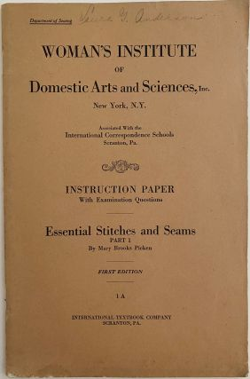 Essential Stitches and Seams, Part 1, Instruction Paper with Examination Questions, Woman's...