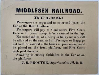 Middlesex Railroad Rules. J. B. PROCTOR, Capt. John Ball